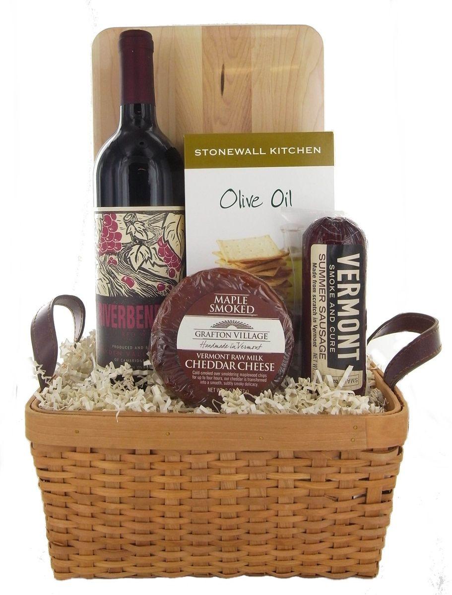 Wine Basket Gift Ideas  Simple Vermont Red Wine Basket