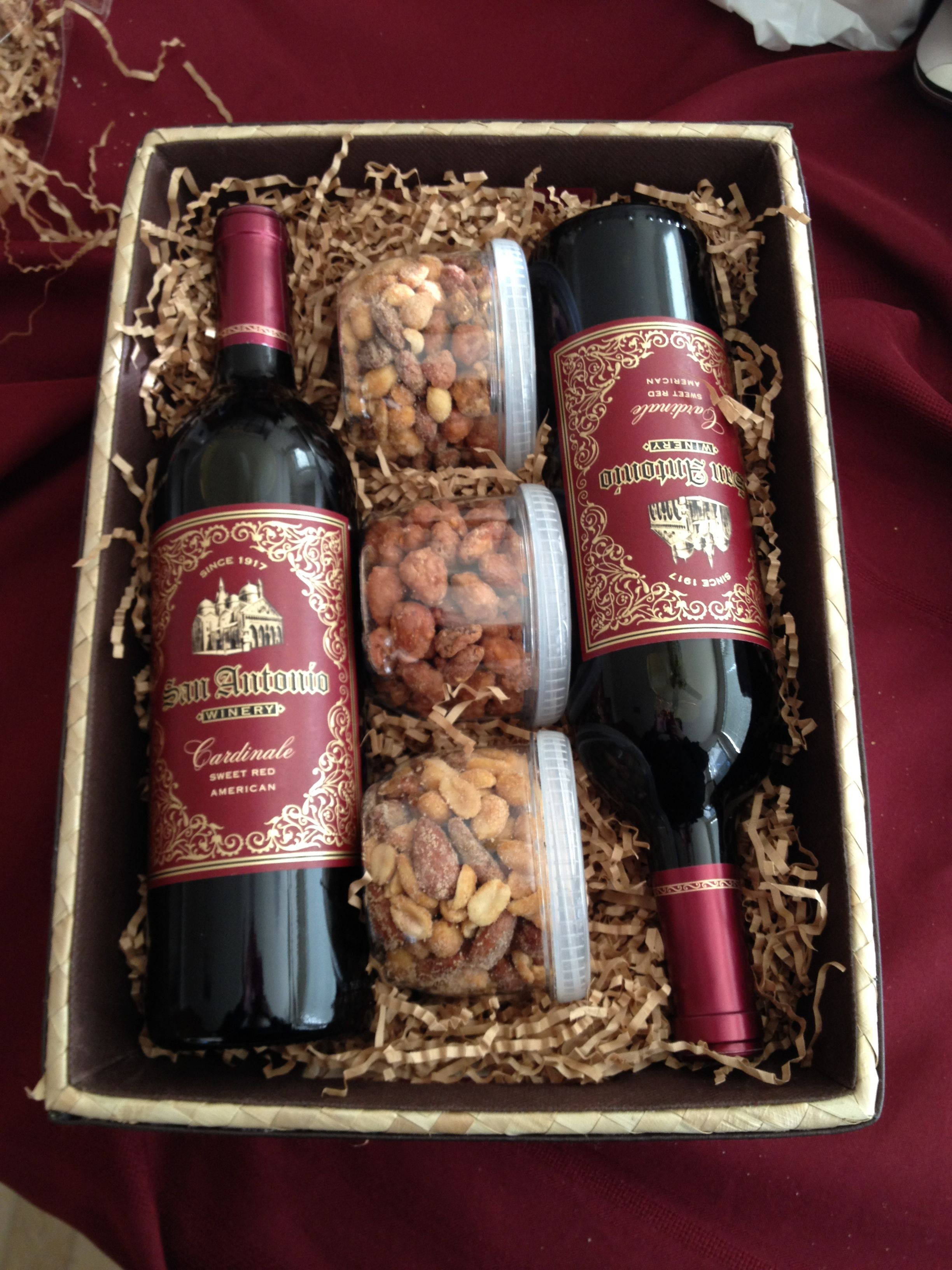 Wine Basket Gift Ideas  Wine Gift Basket Nuts are a good idea to add to the wine