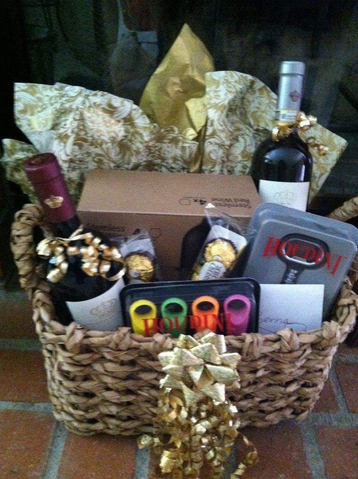 Wine Basket Gift Ideas  Wine basket I made for a Bridal Sower