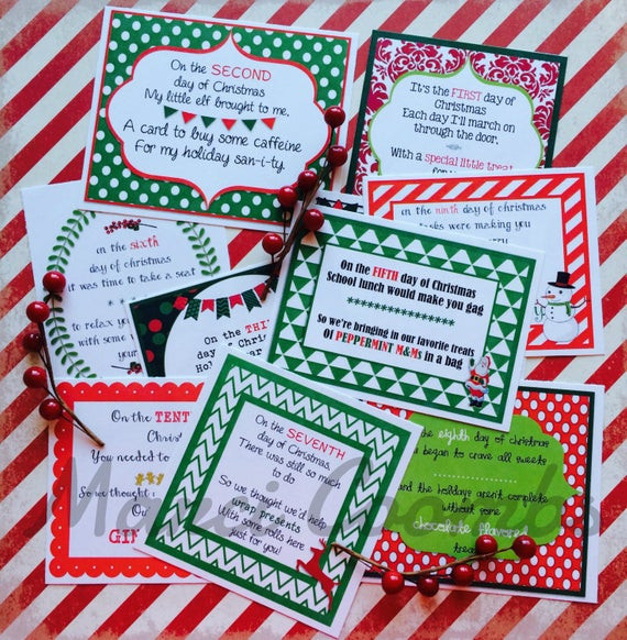12 Days Of Christmas Gift Ideas For Friends  12 Days of Christmas Printable Tags Labels for Teachers