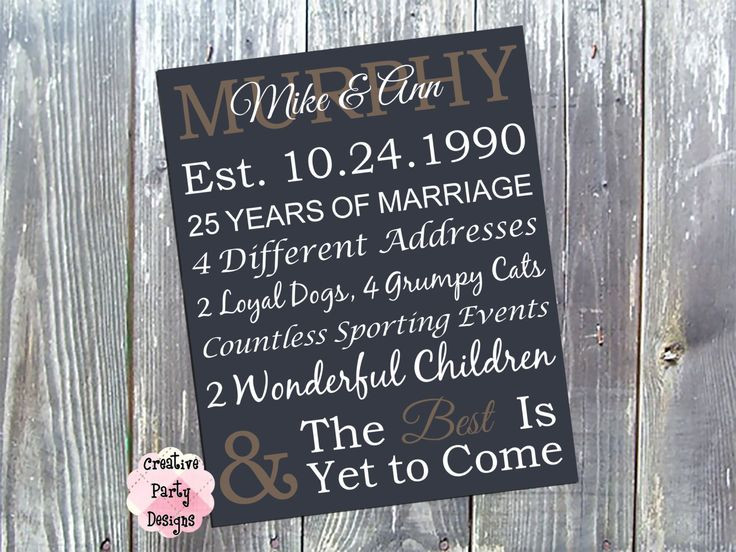 25Th Wedding Anniversary Gift Ideas For Wife  94 Best images about Gift Ideas on Pinterest