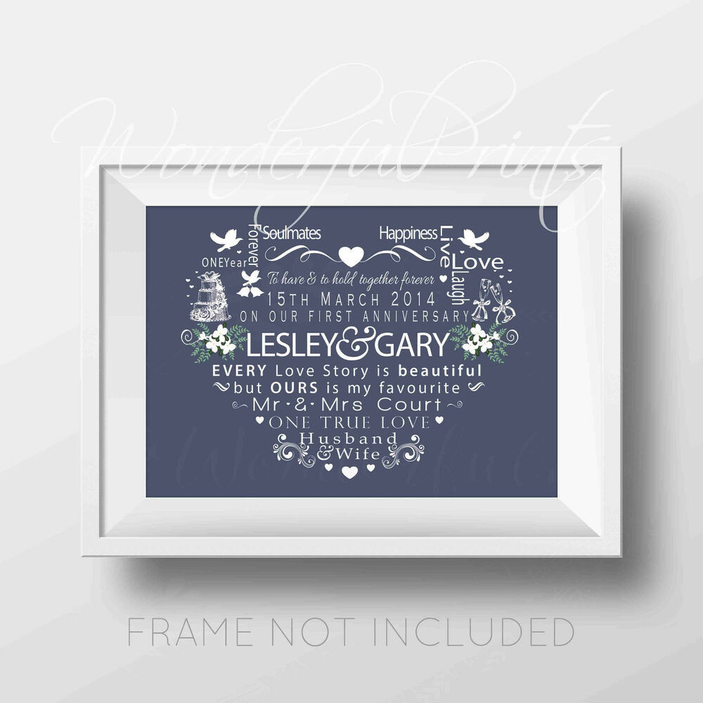 25Th Wedding Anniversary Gift Ideas For Wife  Personalised 1st 10th 15th 25th Wedding Anniversary Gift