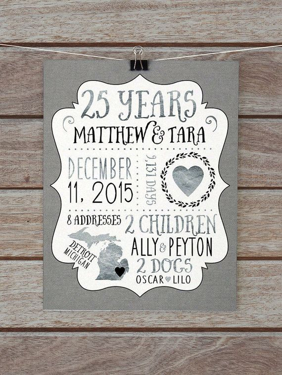 25Th Wedding Anniversary Gift Ideas For Wife  25 Year Anniversary Gift Silver Wedding Anniversary