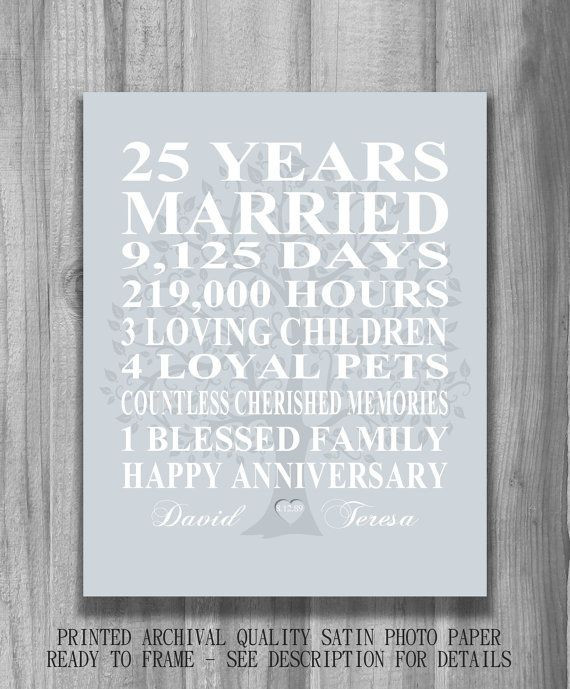 25Th Wedding Anniversary Gift Ideas For Wife  25 best ideas about 25th Anniversary Gifts on Pinterest
