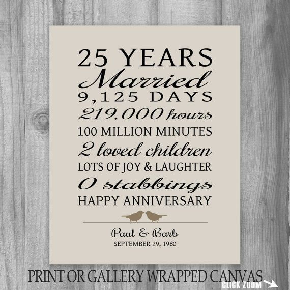 25Th Wedding Anniversary Gift Ideas For Wife  25 Year Anniversary Gift 25th Anniversary Art Print