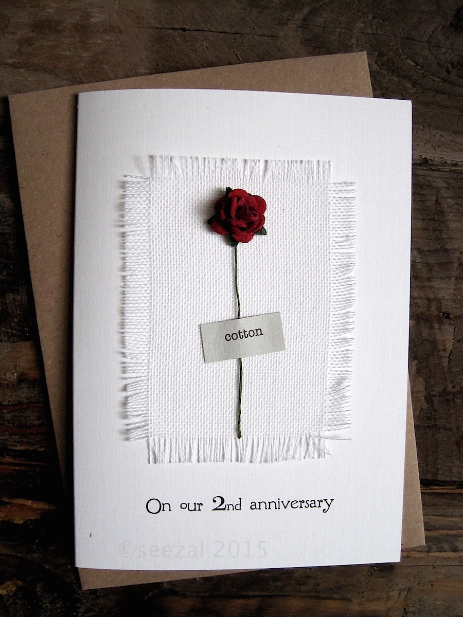2Nd Anniversary Gift Ideas For Him  2nd Anniversary Keepsake COTTON Card Cotton Fabric with a