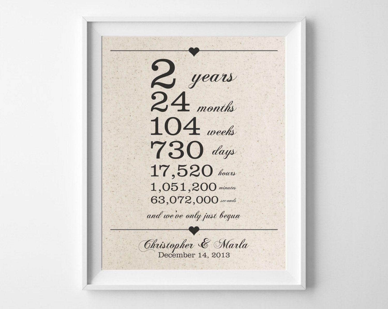 2Nd Wedding Anniversary Gift Ideas  2 years to her Cotton Anniversary Print