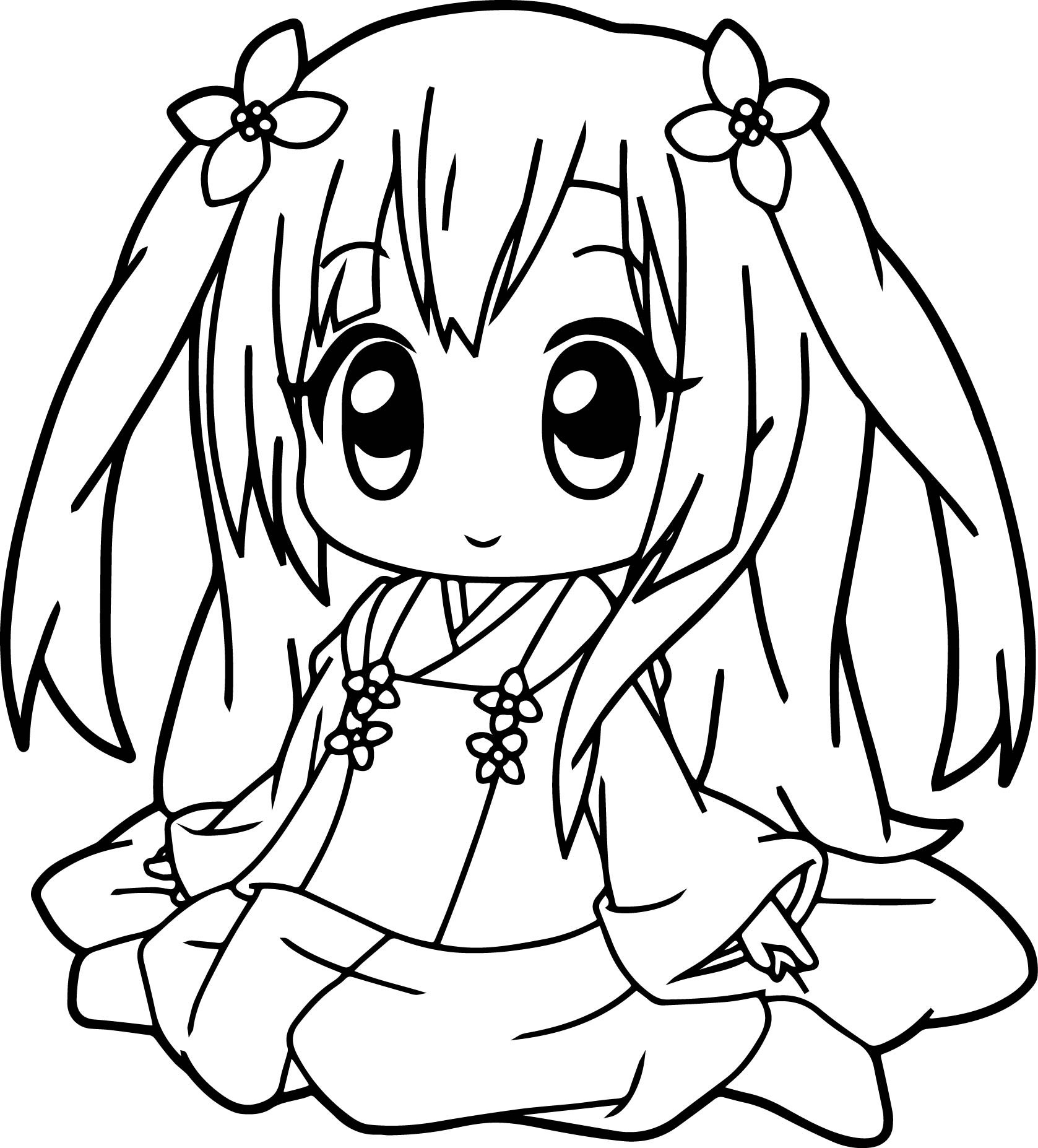 Anime Coloring Pages Printable  Anime Girl Coloring Pages coloringsuite
