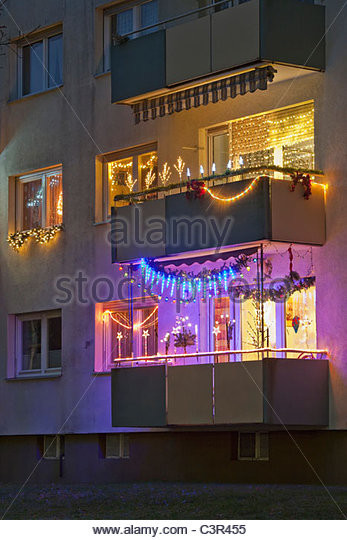 Apartment Balcony Christmas Lights  Decorated Balcony Night Stock s & Decorated Balcony