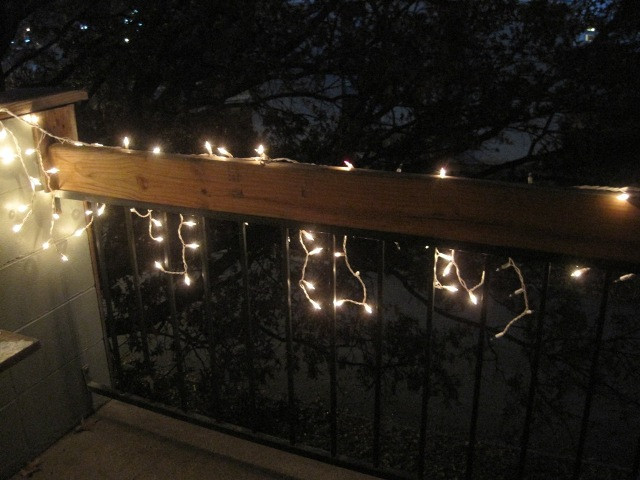 Apartment Balcony Christmas Lights  on our first christmas in kansas and tasteful apartment
