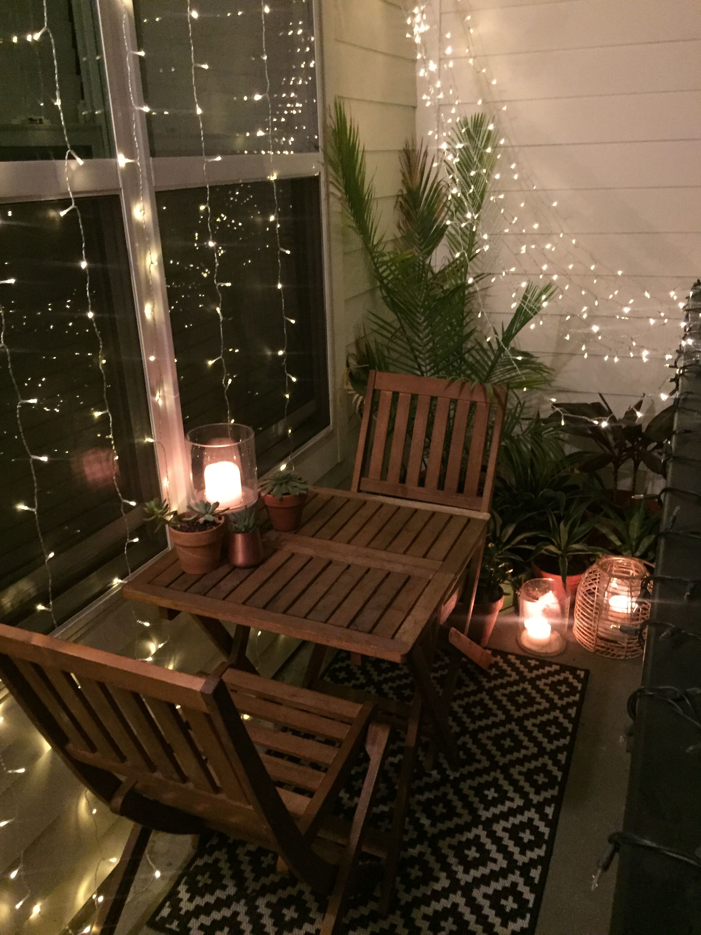 Apartment Balcony Christmas Lights  Pin by Sloansayswhat on Small Apartment Balcony Decor and