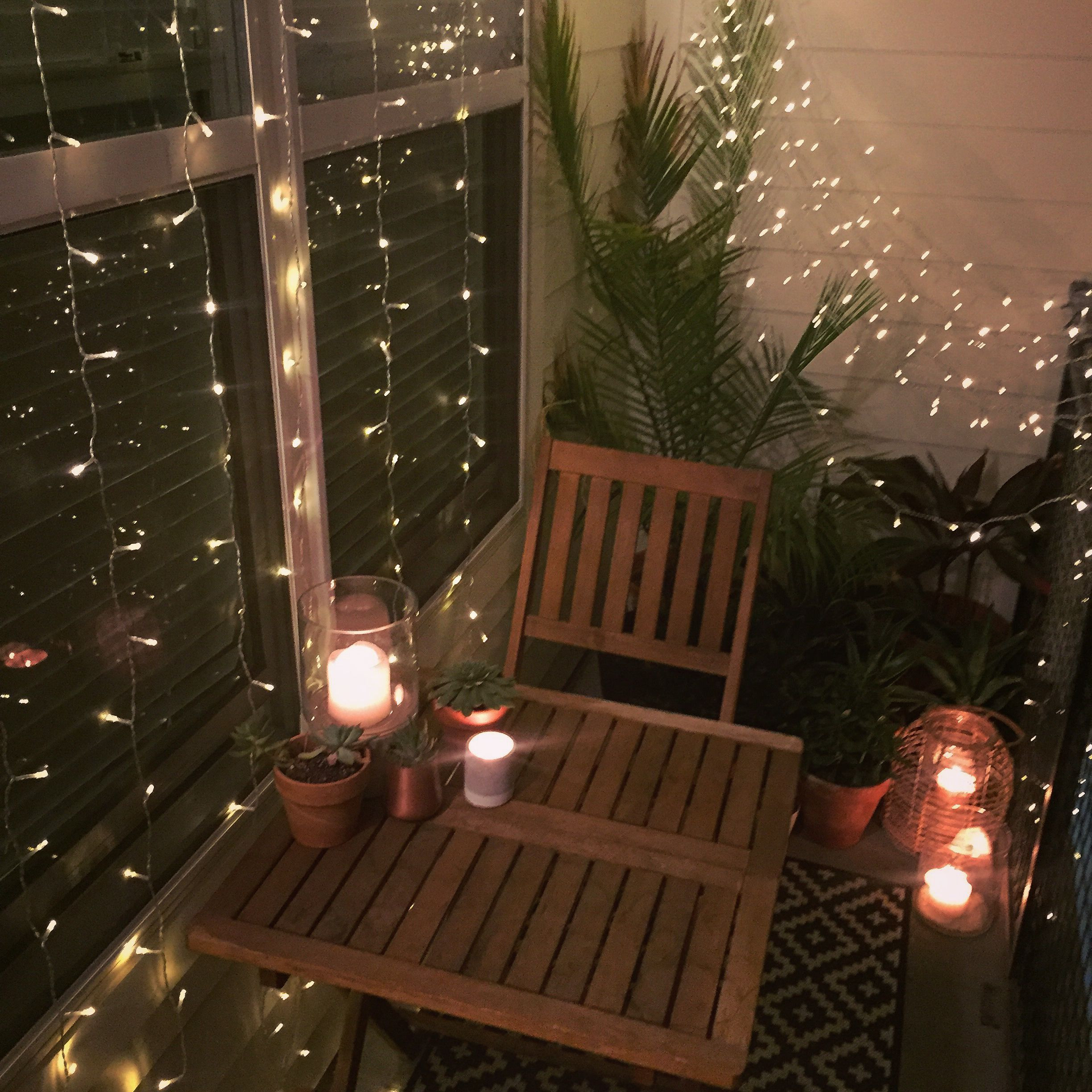 Apartment Patio Christmas Decorating Ideas  Small balcony decor ideas for an apartment Hanging string