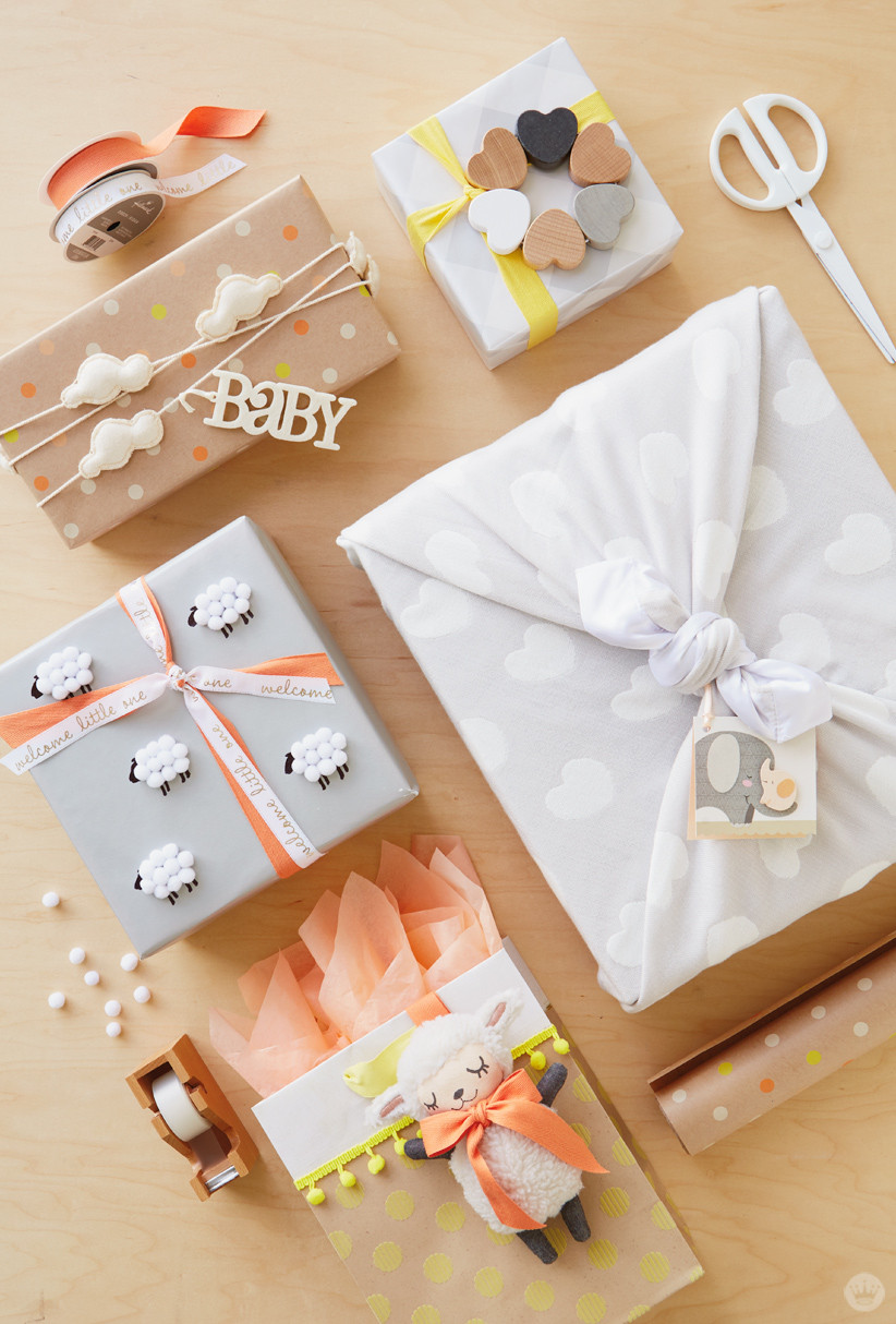 Baby Gift Wrapping Ideas  Baby t wrap ideas Showered with love Think Make