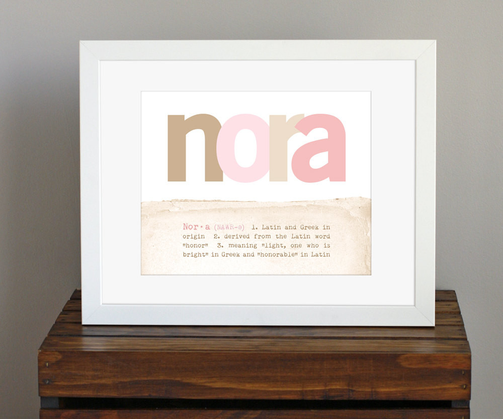 Baby Naming Gift Ideas  Customized Baby Name Art Print with Name Meaning
