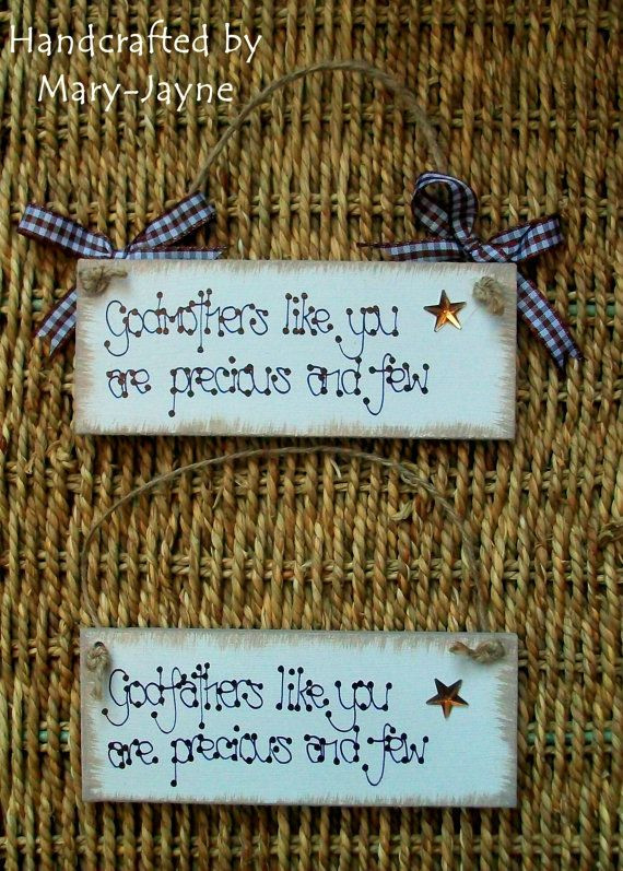 """Baby Naming Gift Ideas  GODMOTHER GODFATHER Christening Gift Sign """"Precious and"""