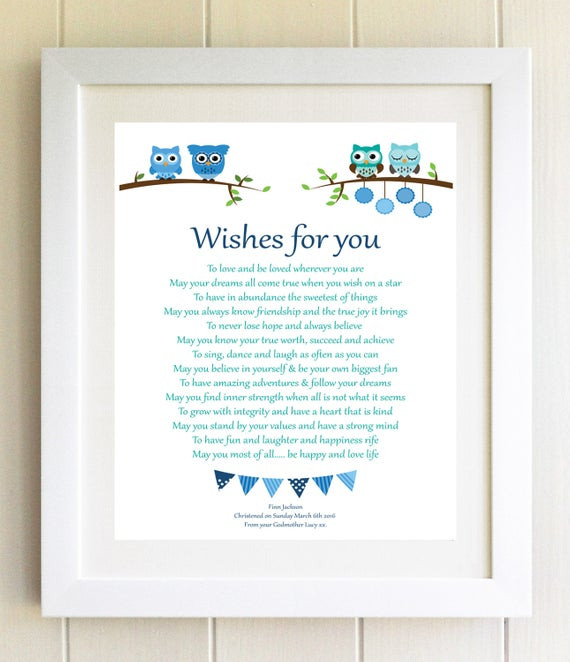 Baby Naming Gift Ideas  Christening Gift Naming Ceremony New Baby Gift A4 Print Wishes