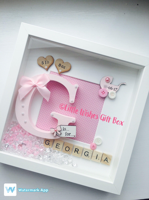 Baby Naming Gift Ideas  New Baby Girl box frame New Baby Nursery decor