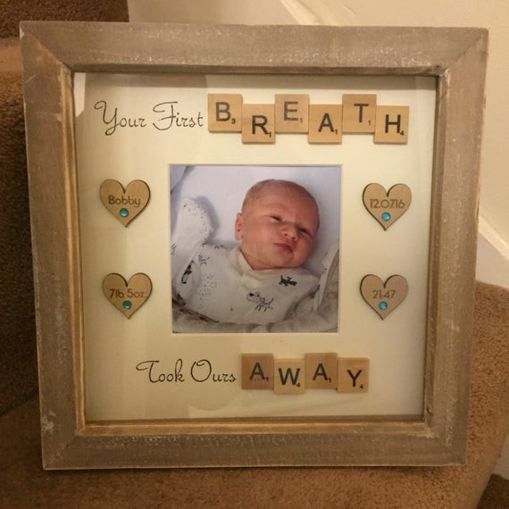 Baby Naming Gift Ideas  Items similar to Handmade Personalised New Baby Frame