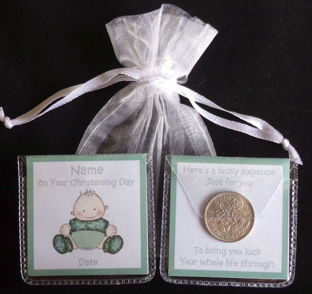 Baby Naming Gift Ideas  PERSONALISED LUCKY SIXPENCE CHRISTENING NAMING DAY BABY
