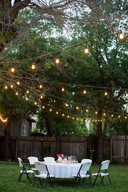 Backyard Party Ideas Lighting  Backyard Anniversary Dinner Party