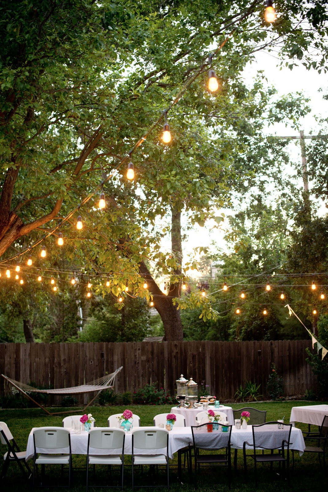 Backyard Party Ideas Lighting  Domestic Fashionista Backyard Birthday Fun Pink