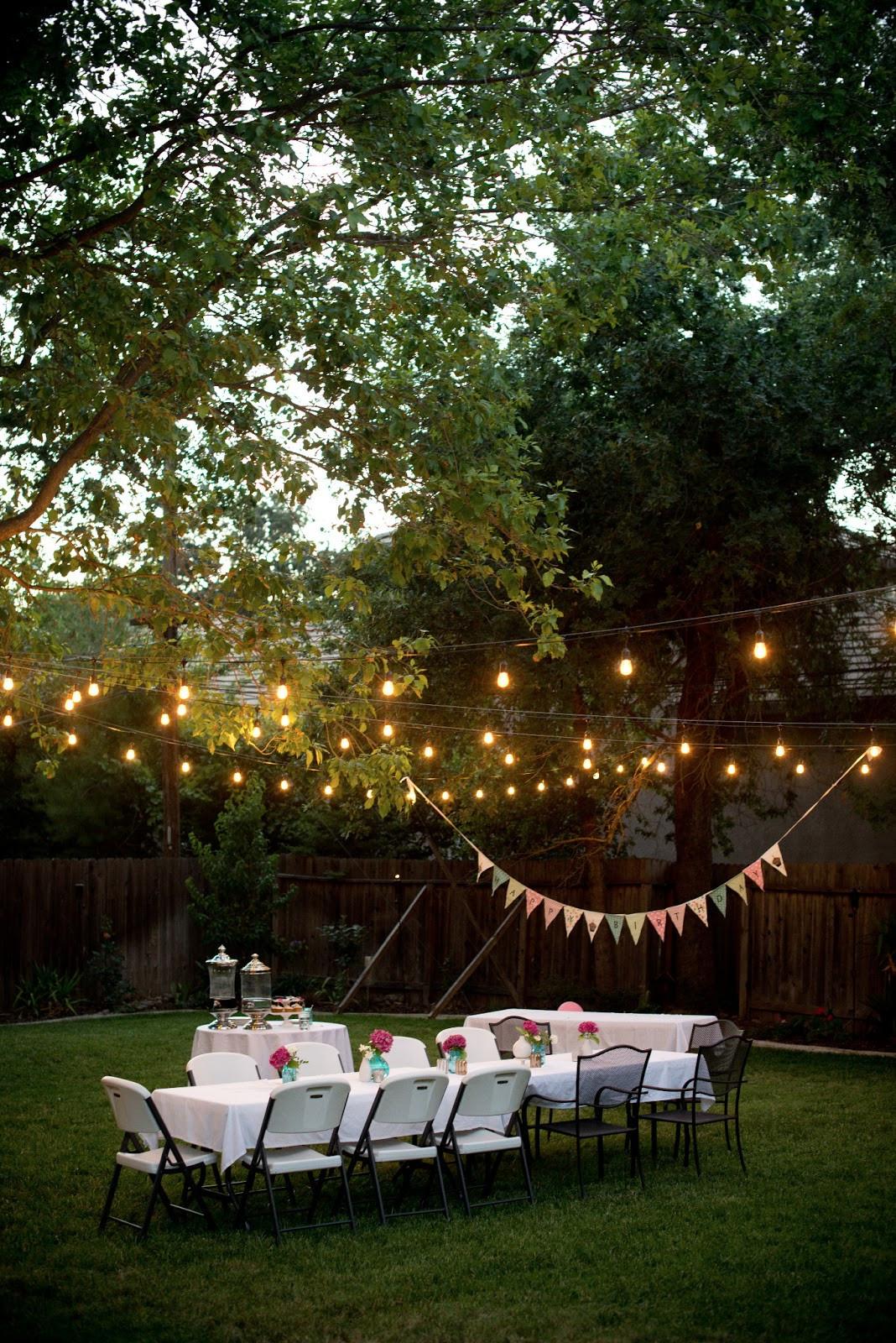 Backyard Party Lighting Ideas  Domestic Fashionista Backyard Birthday Fun Pink