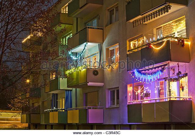 Balcony Christmas Lights  Decorated Balcony Night Stock s & Decorated Balcony