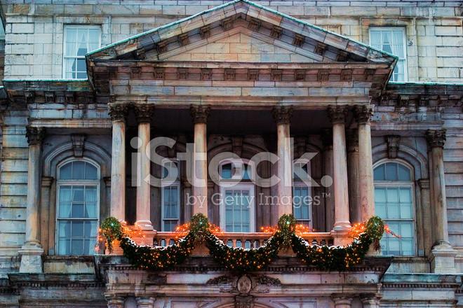 Balcony Christmas Lights  Stone Balcony and Christmas Lights Stock s