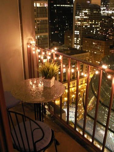 Balcony Christmas Lights  Chicago high rise studio apartment Balcony