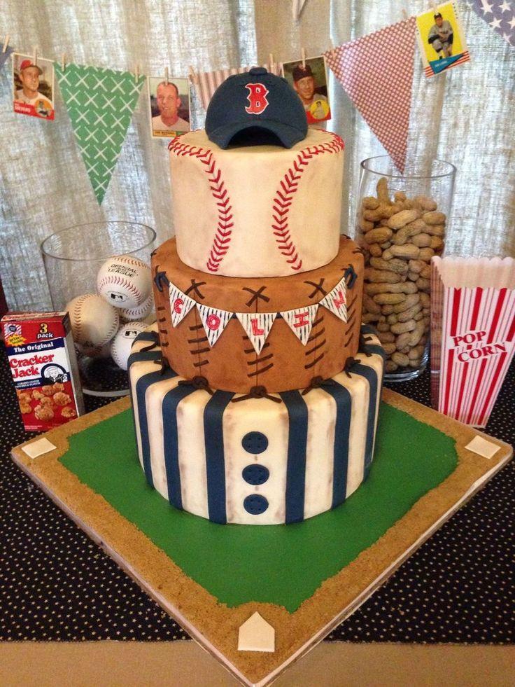 Baseball Birthday Cake  Vintage Baseball Themed Baby Shower Cake on Cake Central