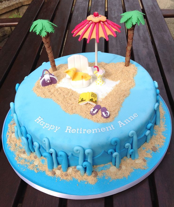 Beach Themed Retirement Party Ideas  Beach themed Retirement Cake cakes