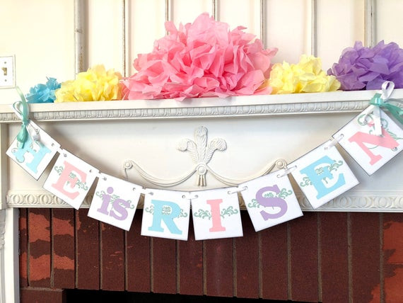 Christian Easter Party Ideas  Easter decorations He is RISEN banner Easter Garland