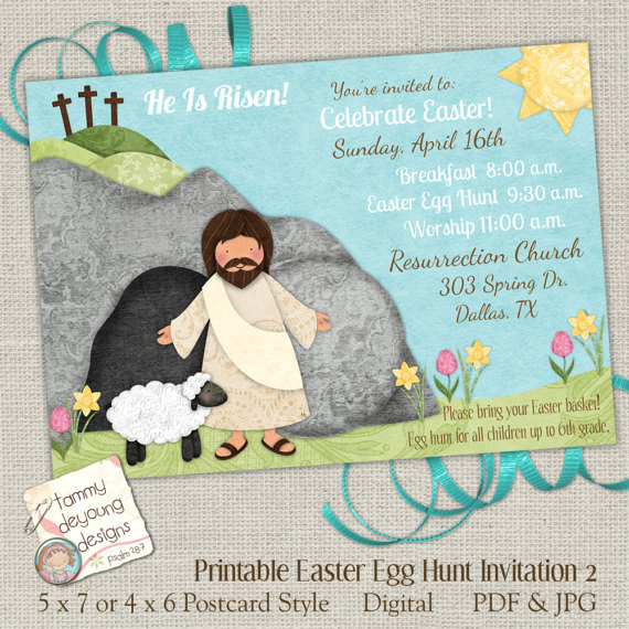Christian Easter Party Ideas  Religious Easter Egg Hunt Invitation Easter Worship Invite