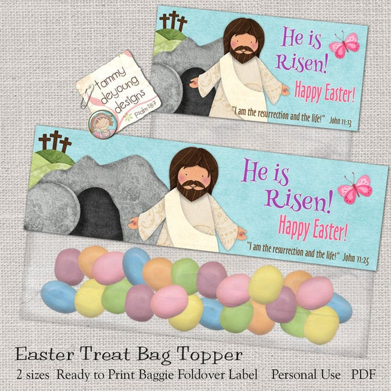 Christian Easter Party Ideas  Christian Easter Treat Bag Toppers Printable He Is Risen