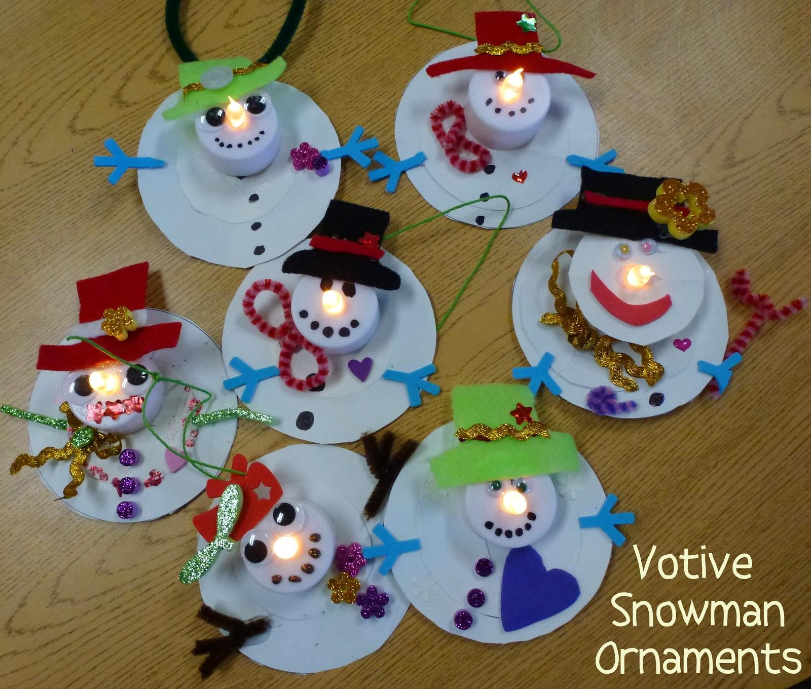 Christmas Art Ideas  Choices for Children Votive Snowman Ornaments