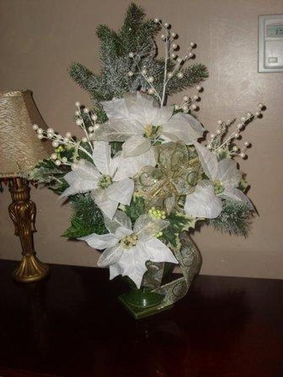 Christmas Artificial Flower Arrangements  Elegant Christmas Poinsettias Silk Flower Arrangement