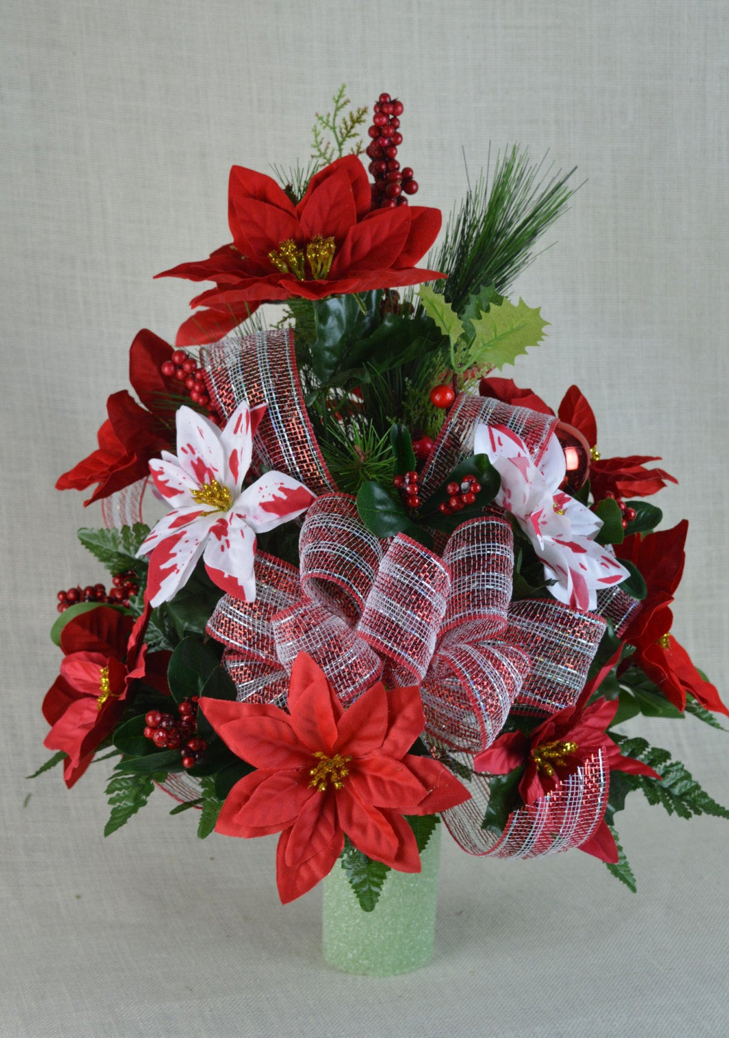 Christmas Artificial Flower Arrangements  NO CC005 Holiday Christmas Silk Flower Cemetery by