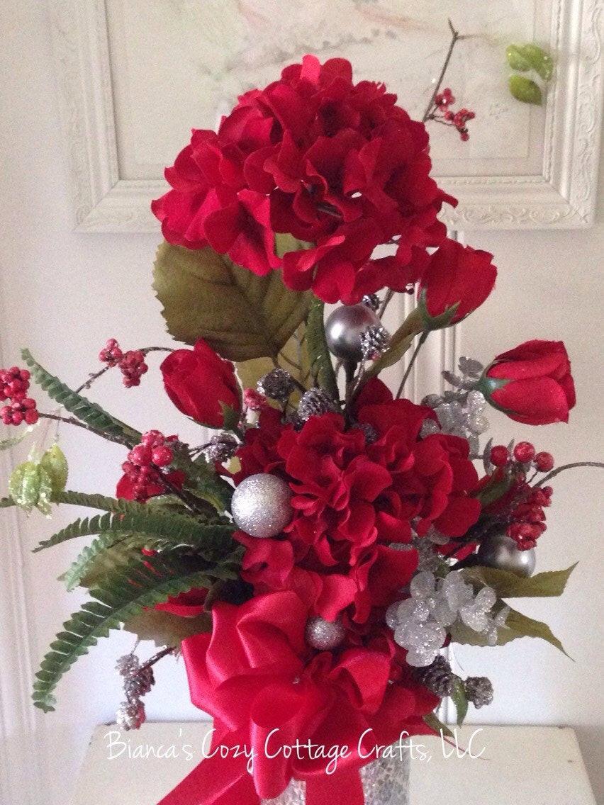 Christmas Artificial Flower Arrangements  Christmas floral red flower arrangement artificial floral
