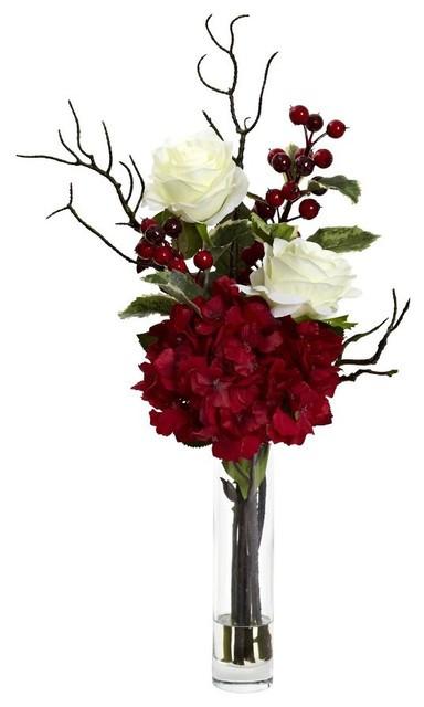 Christmas Artificial Flower Arrangements  Merry Christmas Rose Hydrangea Arrangement Traditional