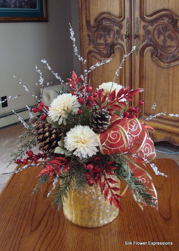 Christmas Artificial Flower Arrangements  10 best images about Christmas Silk Flower Arrangements on