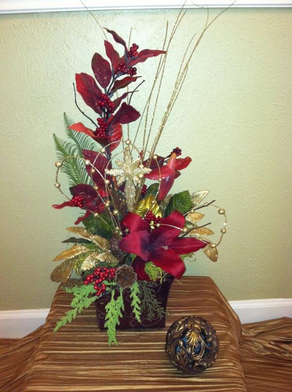 Christmas Artificial Flower Arrangements  25 best ideas about Christmas floral arrangements on