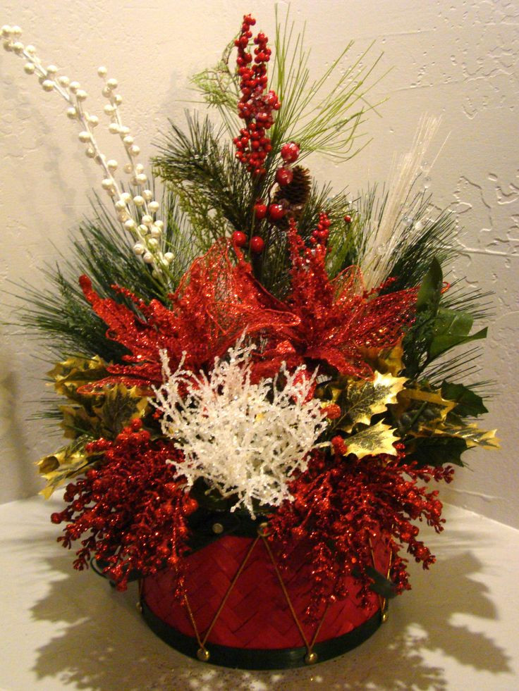 Christmas Artificial Flower Arrangements  CHRISTMAS SILK FLORAL ARRANGEMENT 3030