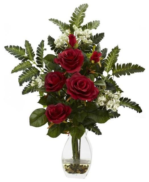 Christmas Artificial Flower Arrangements  Rose and Christmas Arrangement Traditional Artificial