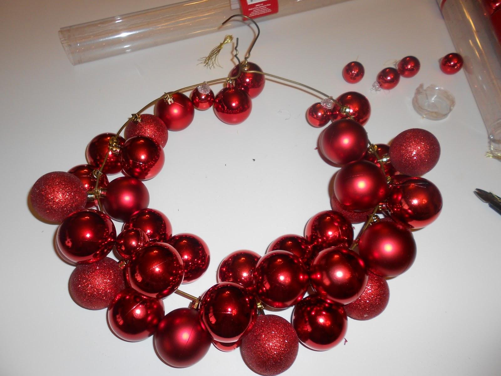 Christmas Ball Wreath DIY  $6 Dollar Wire Hanger Christmas Ornament Wreath and Bow