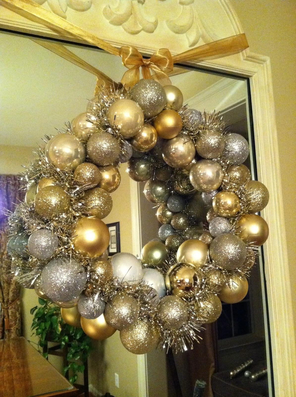 Christmas Ball Wreath DIY  The Penny Parlor Dollar Store Christmas Ball Wreath