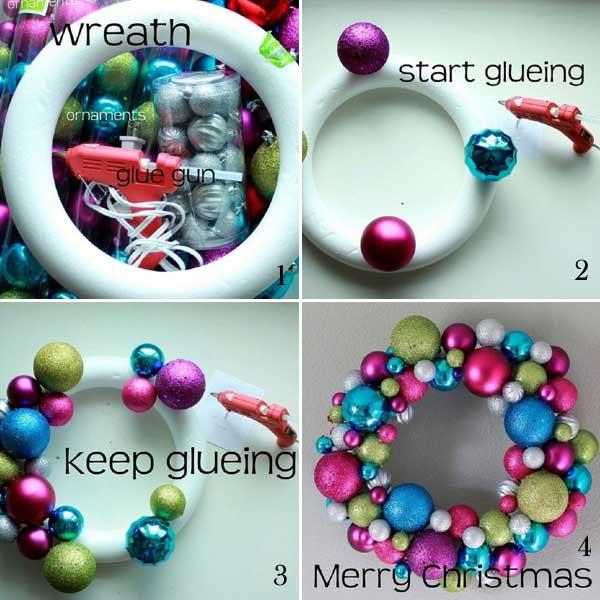 Christmas Ball Wreath DIY  DIY Christmas Wreaths Ideas