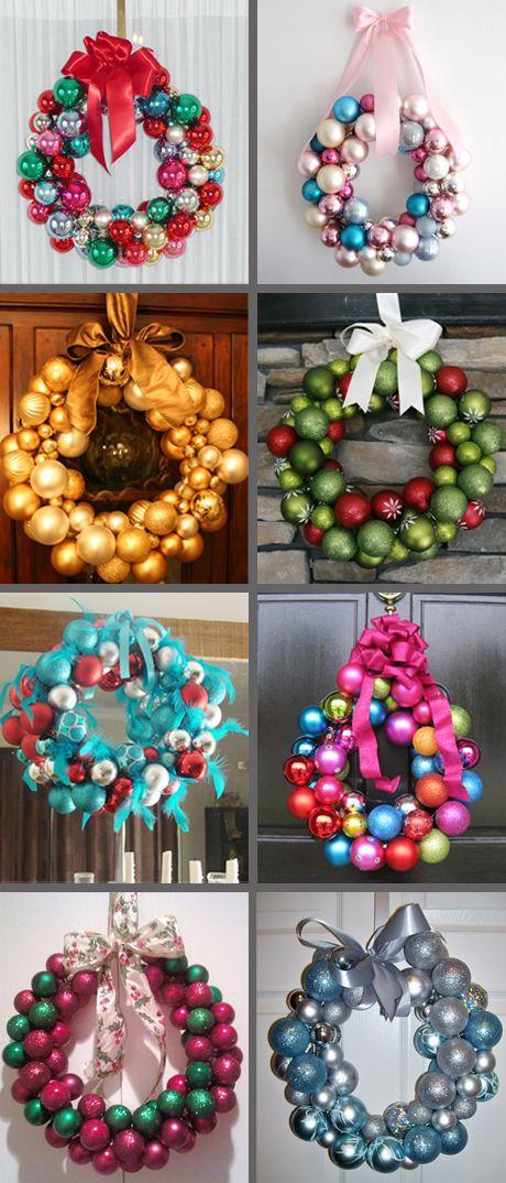 Christmas Ball Wreath DIY  Glass ball ornament wreath DIY ideas holiday DIY