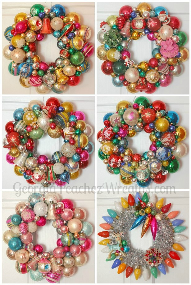 Christmas Ball Wreath DIY  How to make a Christmas wreath out of vintage ornaments