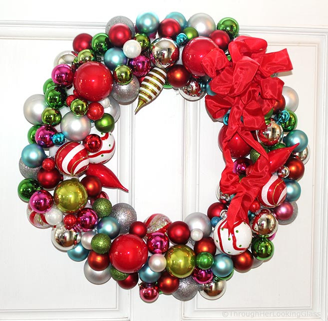 Christmas Ball Wreath DIY  Willy Wonka Christmas Ball Wreath Through Her Looking Glass