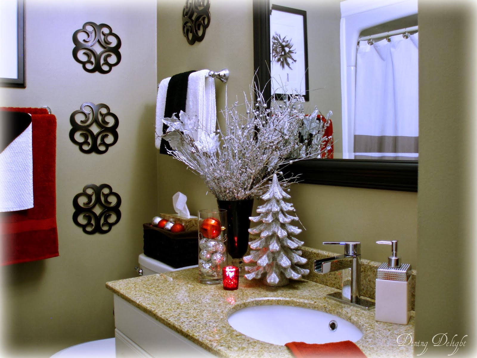 Christmas Bathroom Decorations  Dining Delight Christmas Home Tour 2013